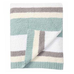 BAREFOOT DREAMS Blue Cream Stripe Throw Blanket